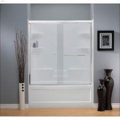 """42 - 42-3/4"""" Silver Clear Bypass Shower Door"""