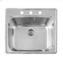 """Essential 25"""" x 22"""" Satin Brushed Kitchen Sink"""