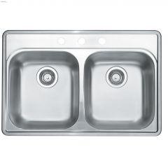 """Essential 2 21"""" x 31"""" x 8"""" H Brushed Satin Kitchen Sink"""