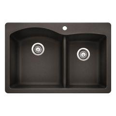 """Silgranit Diamond 33"""" x 22"""" Anthracite Kitchen Sink"""