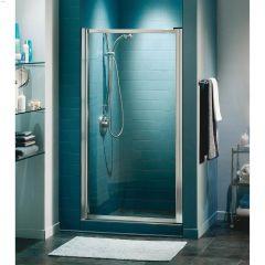 "23 - 24-3/4"" Chrome Raindrop 1-Panel Pivot Shower Door"