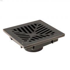 "9"" x 9"" Vortex Catch Basin With Concave Black Plastic Grate"