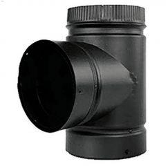 "7"" x 14-3/4"" Black Stove Pipe Tee With Cap"