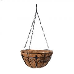 "14"" Black Powder Coated Steel Hanging Basket"