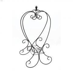 """40"""" Black Steel Folding Heart-Shape Basket Hanger"""