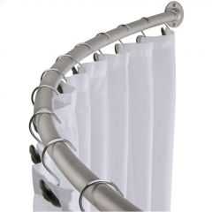 """52 - 72\"""" Satin Nickel Adjustable Curved Shower Rod"""