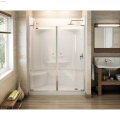 Essence SH-6030 White Fiberglass 4-Piece Left Seat Shower
