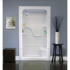 "60\"" x 34-1\/4\"" x 84-1\/2\"" 3-Piece Seat Shower Stall"