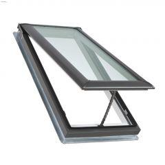 "21-1/2"" x 38-3/8"" Grey Manual Vent Deck Mount Skylight"