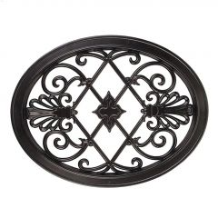 "13"" x 17"" Black Cast Aluminum Oval Fence & Gate Insert"