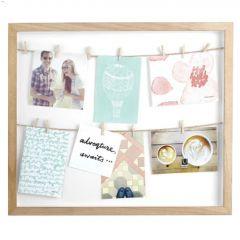 "Clothesline 20"" x 17"" Natural Paulownia Wood Photo Frame"