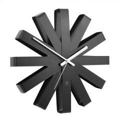 "12"" x 2-1/4"" Black Stainless Steel Ribbon Wall Clock"