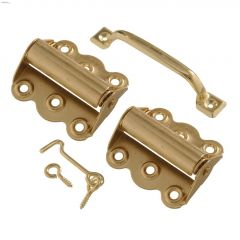V92 Brass Plated Screen Door Set With Spring Door Hinge