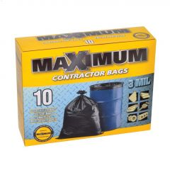 "33"" x 44"" 144 L Black Contractor Bag-10/Pack"
