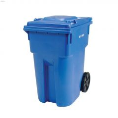 360 L Blue Garbage Can With Wheels