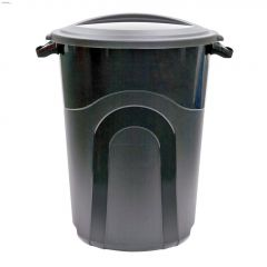 76 L Black Trash Can With Lid