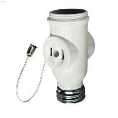 2-Outlet Chain White Lampholder Socket Adapter 125V