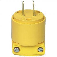 Yellow Straight Blade Plug 15A 125V 2P/2W