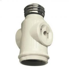2 Outlet Keyless White Socket Adapter 125V