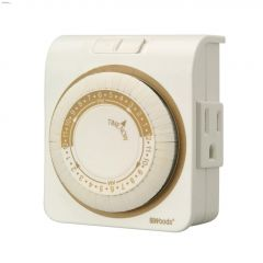 Indoor 24 hr White With Taupe Silkscreen Mechanical Timer 3C