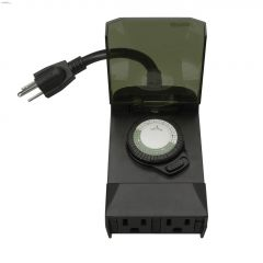 Outdoor 24 hr Black Mechanical Timer 2 Grounded