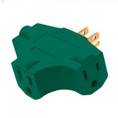 3-Grounded Outlet Green Adapter