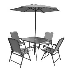 Kingston 6 Piece Folding Chair Set With Umbrella