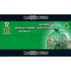 "Maximum Recyling Bag Green 35"" x 47""-12 Count"