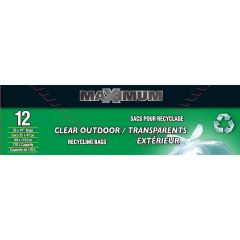 """Maximum Garbage Bag Clear 35"""" x 47""""-12 Count"""