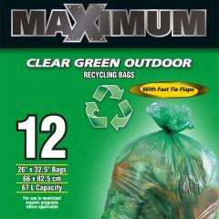 "Maximum Recyling Bag Green 26"" x 36""-12 Count"