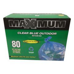 "Maximum Recyling Bag Blue 26"" x 32.5""-80 Count"