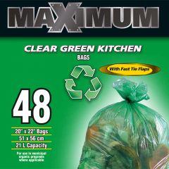 "Maximum Recyling Bag Green 20"" x 22""-48 Count"