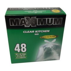 """Maximum Kitchen/Office Bag Clear 20"""" x 22""""-48 Count"""
