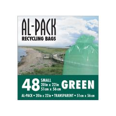 "20"" x 22"" Green Recycling Bags-48/Pack"