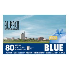"""26"""" x 32.5"""" Blue Recycling Bags-80/Pack"""