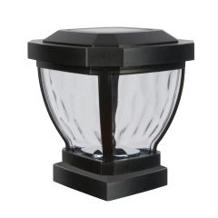 Solar Fence Post Light with Water Glass Lens - Black-2/Pack