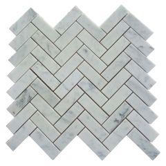 Carrara Herringbone Mosaic Tile