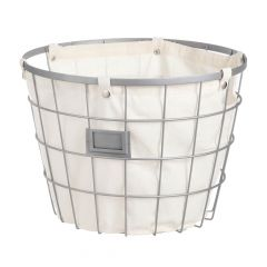 Large Round Rustic Gunmetal Wire Basket With Tag Holder