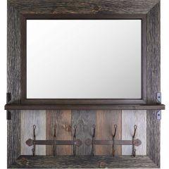 Wood Framed Mirror With Shelf