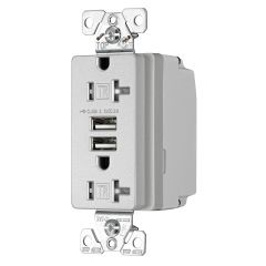 USB Charger with Duplex Receptacle - Silver Granite