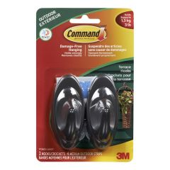 Command Medium Terrace Hooks with All Weather Strips, Slate