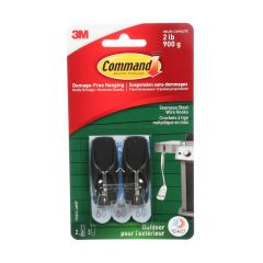 Command Medium Outdoor Wire Hooks, Stainless Steel