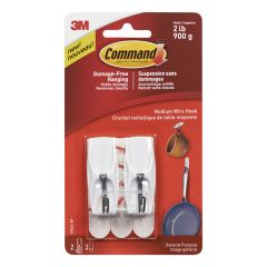 Command Medium Wire Toggle Hook, White
