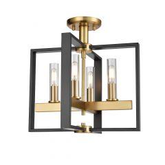 Blairmore Semiflushmount Graphite and Venetian Brass