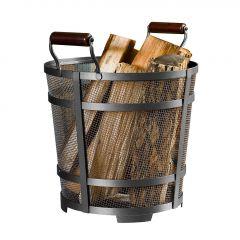 Modern Prairie Antique Pewter Mesh Log Basket