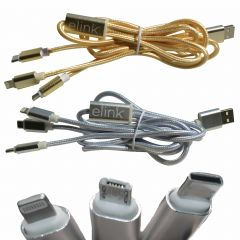 USB Charging Cable with 3 Connectors