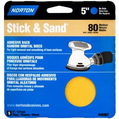 "5"" Stick & Sand 80 Grit Disc-5/Pack"