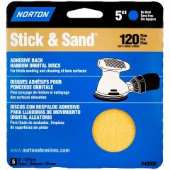 "5"" Stick & Sand Disc 120 Grit Disc-5/Pack"