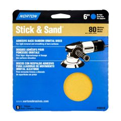 "6"" Stick & Sand Disc 80 Grit-5/Pack"
