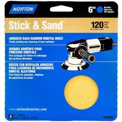 "6"" Stick & Sand Disc 120 Grit-5/Pack"